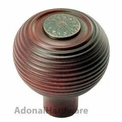 55mm Round Wooden Cabinet Knob with Antique Copper Coin