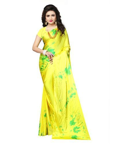 b79c37de47c67e Cotton Yellow   Green Shibori Saree
