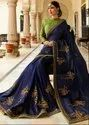Royal Navy Blue Designer Silk Saree with Double Blouse