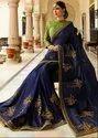 Royal Navy Blue Designer Silk Saree with Double Blouse