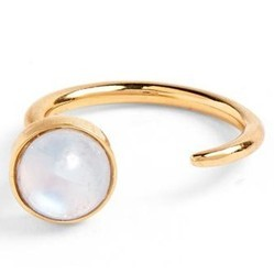 Nice 925 Sterling Silver Rainbow Moonstone Cabochon Micron Gold Plated Ring Jewelry