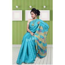 Sky Blue Moklin Jamdani Saree, Length: 6.3 m