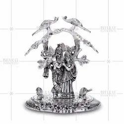 White Metal Radha Krishna Under KadambaTree