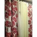 Red And White Printed Window Curtain