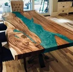 Natural New Live Edge Epoxy Wood Table for Restaurant
