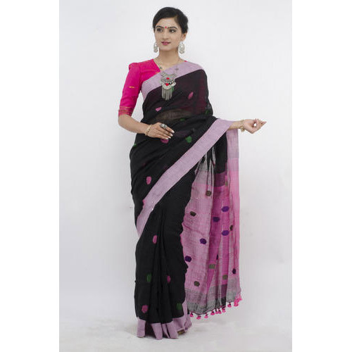 3b3cce23a701e Linen Jamdani Saree With Blouse Piece