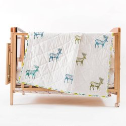 Beautiful White Cotton Deer Hand Block Printed Baby Quilt 60x90 for Kids