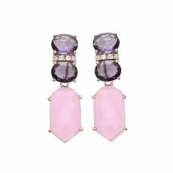Rose Quartz Chalcedony & Amethyst Hydro Earrings