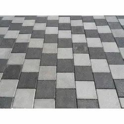 Outdoor Square Rectangular Grey and Black Cement Paver Block, Thickness: 60mm