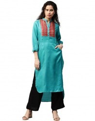 Women Blue Solid with Printed Yoke Detail Straight Fit Satin Kurta