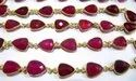 Natural Hot Pink Chalcedony Trillion Shape Briolette Faceted  Connector Chain 10x13mm