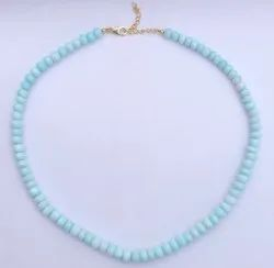Blue Peruvian Opal Stone Smooth Rondelle Beads Necklace With Silver Clasp