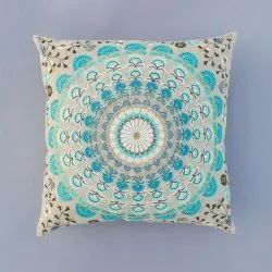 Indian Blue Color Cotton Embroidery Home Decor Decorative Sofa Chair Cushion Cover