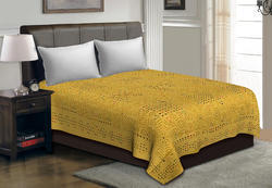 Saavra Yellow Color Multicut Work Cotton Double Bedsheet
