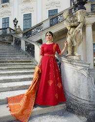 Silk Embroidered Ready Made Gown