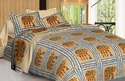 Ajrak Print Cotton Double Bed Sheet