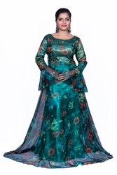 Sea Green Satin Silk Fancy Gown