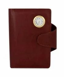 Branded Premium Brown Diary With Watch