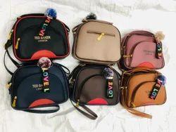 Brown Pu Leather Ladies Handbag