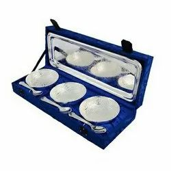 Silver Plated Brass Traditional Bowl Set 7 Pcs. (Bowl 4 Diameter & Tray 13x5.5)