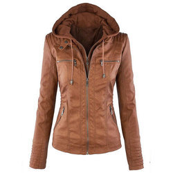 Brown Women's Leather Hooded Jacket