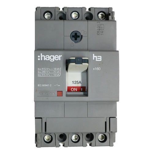 125 Ampere 3 Pole HAGER MCCB 125 AMP 3 POLE 18 KA HDA125Z