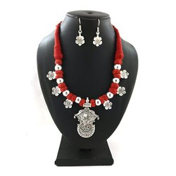 German Silver Flower Artificial Necklace with Earrings