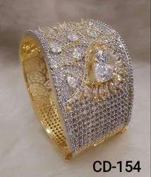 Glamore Hi-Fashion Jewellery Twotone American Diamond Bangle