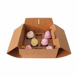 8 Cavity Brown Handle Cupcake Box