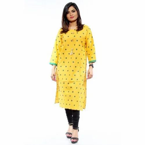 Stretchable Yellow Casual Wear Cotton Printed Kurti, Age Group: 18-40 Years