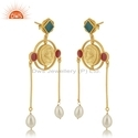 Hand Craved Gold Plated Silver Enamel Pearl Earrings