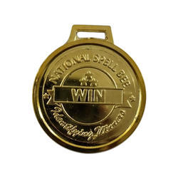 Round Carved Gold  Plated Medal