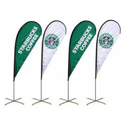 Polyester White & Green Promotional Flags