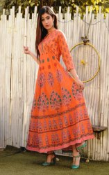 Banded Collar Long Anarkali Kurtis