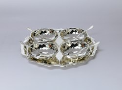 Silver Plated Tray with Four Bowl and Spoons - TS1012