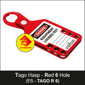 Red Lockout Tago Hasp - 6 Hole