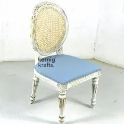 Silver Kernig Krafts Hand Carved Wooden French Colonial Customisable Chair, For Cafe, Cafeteria & Restaurant