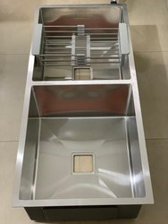 Stainless Steel Double Bowl Handmade Sinks, For Luxury Kitchen