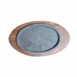 Wooden Brown Sizzler Plate, Round, Size: 16 Inch