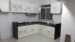 Printed L Shape Modular Kitchen