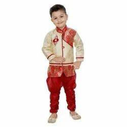 Party Wear Kids Brocade Silk Sherwani, 0-4 Years