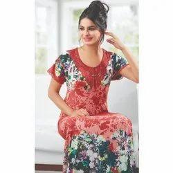 Full Length Half Sleeves Rayon Printed Ladies Nighty, Medium