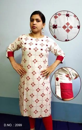 Straight 3/4th Sleeve Ladies Cotton Kurti