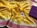 Linen shibhori mirrorwork sarees