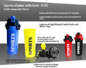 Plastic Red And Black Sports Shaker With Lock (with Removable Filter), Capacity: 600 Ml