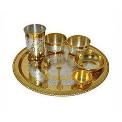 K&T Brass Silver Coated Thali Set