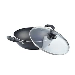 Round Nirlon Induction Deep Kadai With Glass Lid, For Hotel