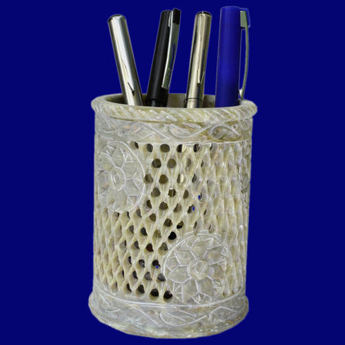 Polished Export Packing Soapstone Carving Pen Holder With Jaali Work