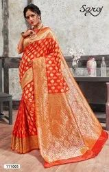 Orange Fancy Banarasi Silk Saree
