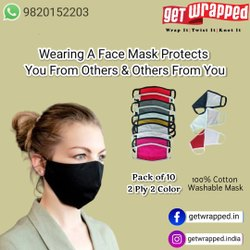 10 Colors Two Layer Cotton Jersey Masks, Number Of Layers: 2